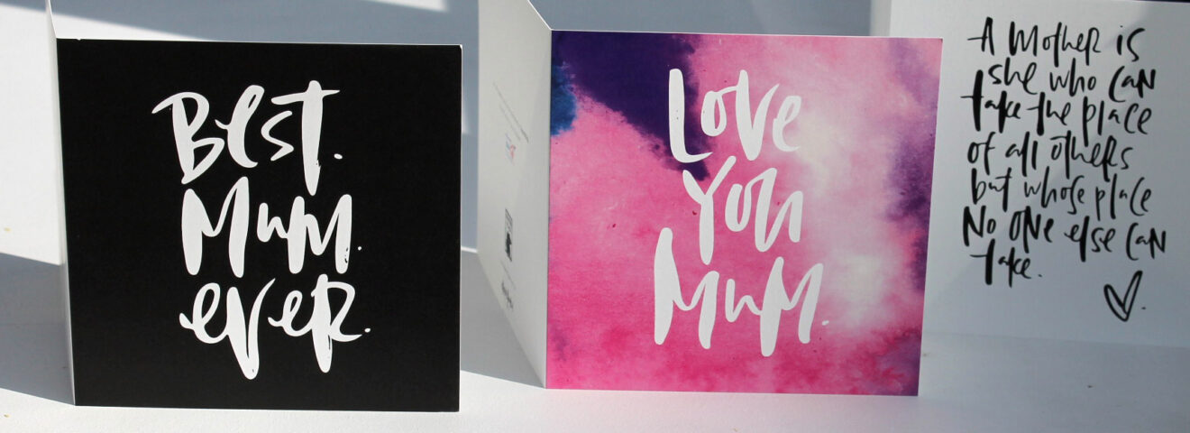 three greeting cards in a row