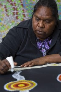 Julianne Turner Nungurrayi whose works are included in the Tarnanthi exhibition in the WCH.