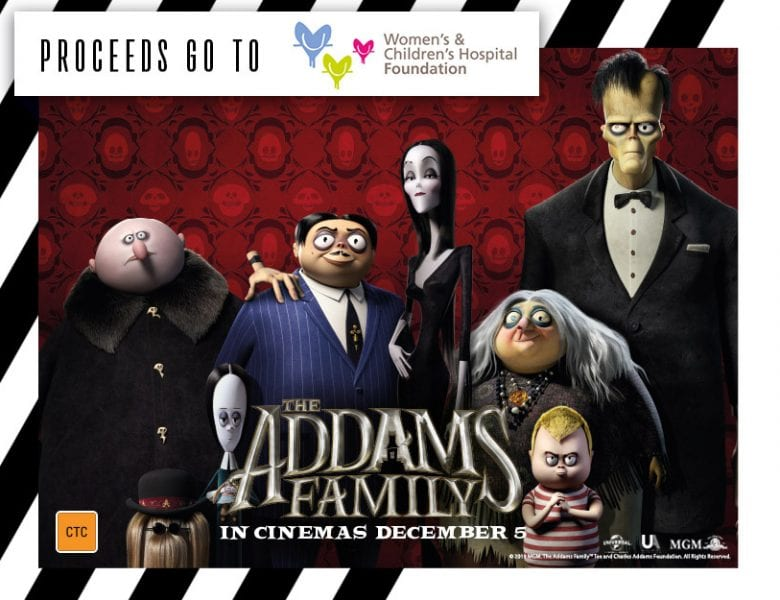 The Addams Family movie advanced screening poster for WCH Foundation.