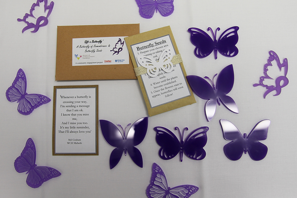 Flat lay of items in the Gift a Butterfly Project at the WCH.