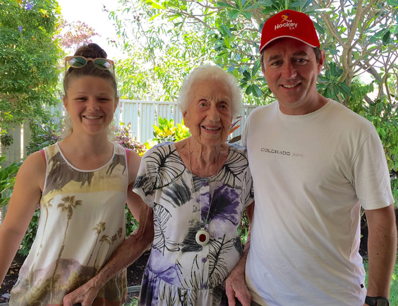 The late Hazel Glencross, pictured with Marty Roberts and his daughter Lucy Roberts.