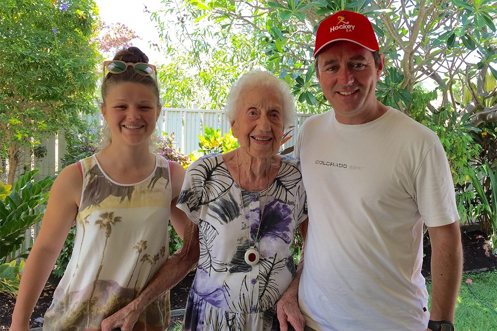 The late Hazel Glencross, who left a bequest for the Roberts Family Fund, pictured with Marty Roberts and his daughter Lucy Roberts.